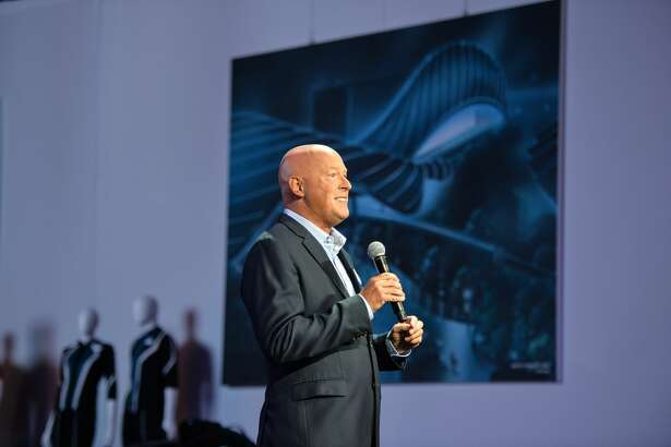 "Bob Chapek announces changes to Epcot and the name, Avengers Campus, as the title of the upcoming Marvel-themed land during a media preview at the D23 Expo in Anaheim, CA, on Thursday, Aug. 22, 2019.""n(Photo by Jeff Gritchen/MediaNews Group/Orange County Register via Getty Images)"