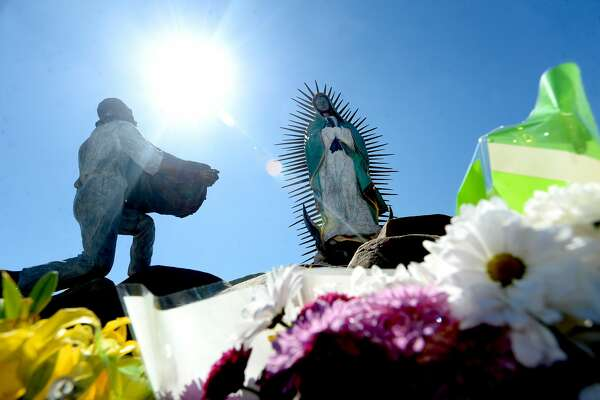 The shrine at Our Lady of Guadalupe Catholic Church in Port Arthur is decorated with flowers. The church will be the starting point for the annual Lenten pilgrimage that begins Friday. Photo taken Tuesday, February 25, 2020 Kim Brent/The Enterprise