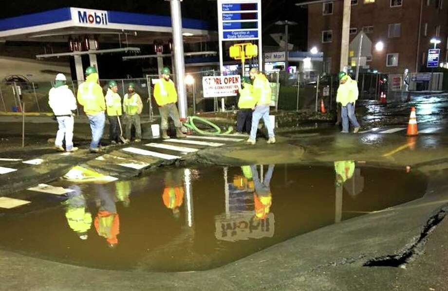 File photo of Aquarion workers at a water main break in Bridgeport, Conn., on Nov. 14, 2017. Photo: Contributed Photo / Bridgeport Office Of Emergency Management / Connecticut Post Contributed
