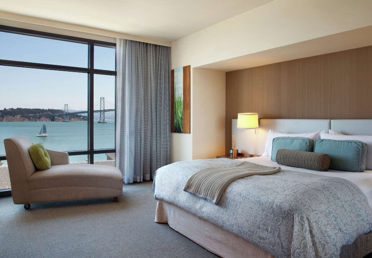 A waterview king room at the current Hotel Vitale, soon to be 1 Hotel San Francisco
