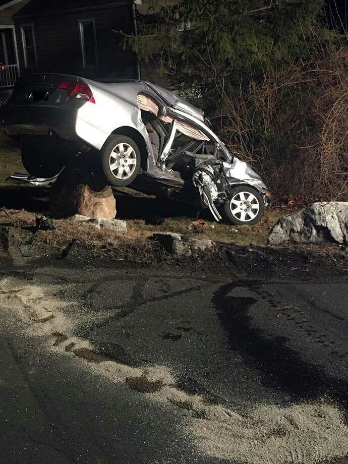 One of the vehicles involved in a crash in Brookfield, Conn., on Monday, Feb. 24, 2020. Photo: Contributed Photo / Brookfield Volunteer Fire Company