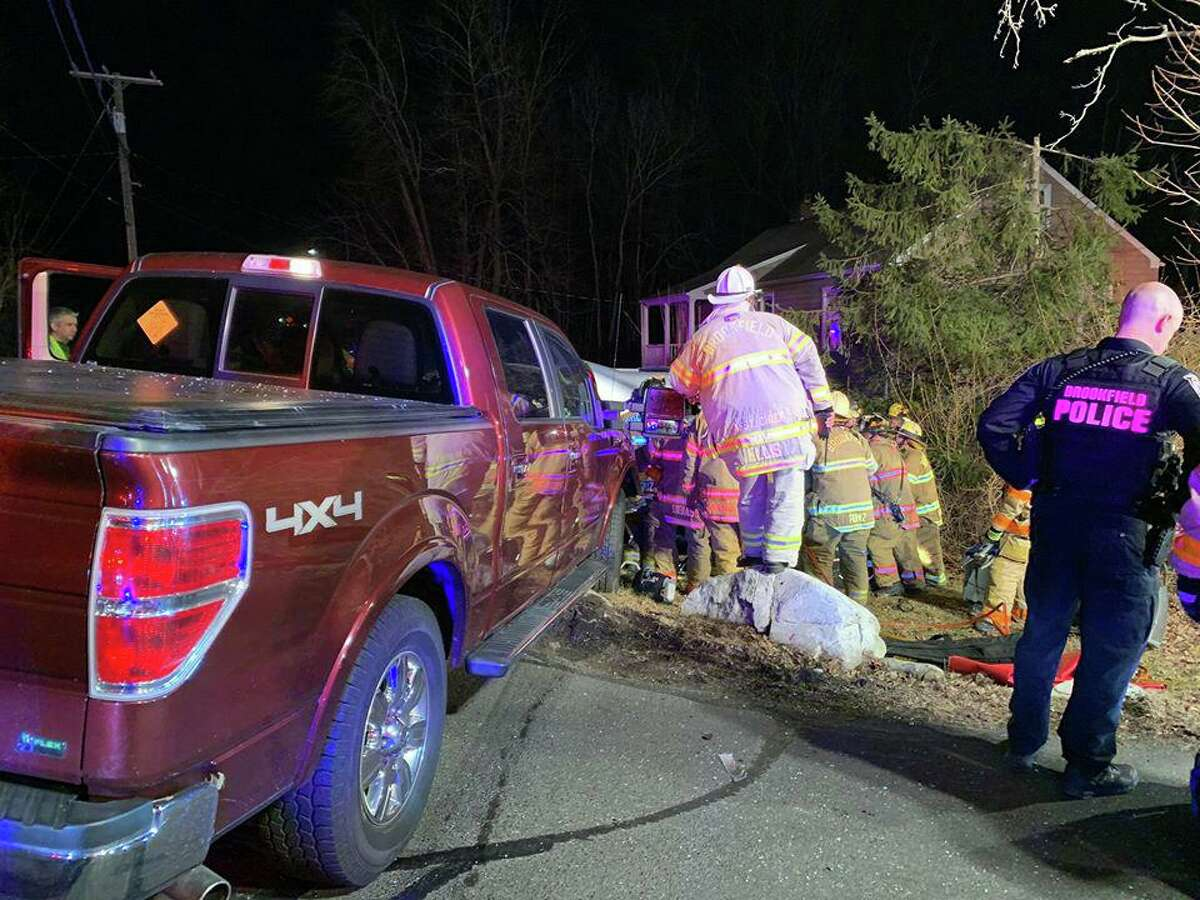 One of the vehicles involved in a crash in Brookfield, Conn., on Monday, Feb. 24, 2020.