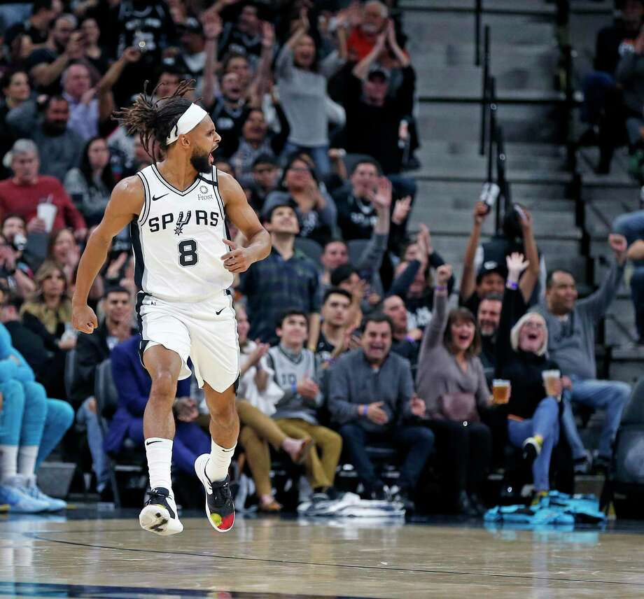 Patty Mills #8 of the San Antonio Spurs celebrates a three against the Charlotte Hornets late in fourth quarter on Saturday, February 1, 2020 at At&T Center. Photo: Ronald Cortes/Contributor / 2020 Ronald Cortes