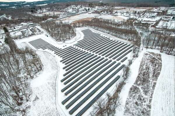 An aerial shot of the joint solar field in Middletown, shared by Wilton and Weston.