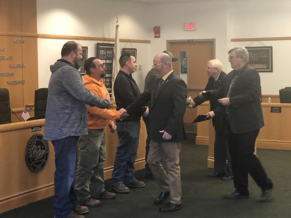 Saratoga County Board of Supervisors honor the four DPW workers who rescued the snowmobiler who fell through the ice on the Great Scanadaga Lake.