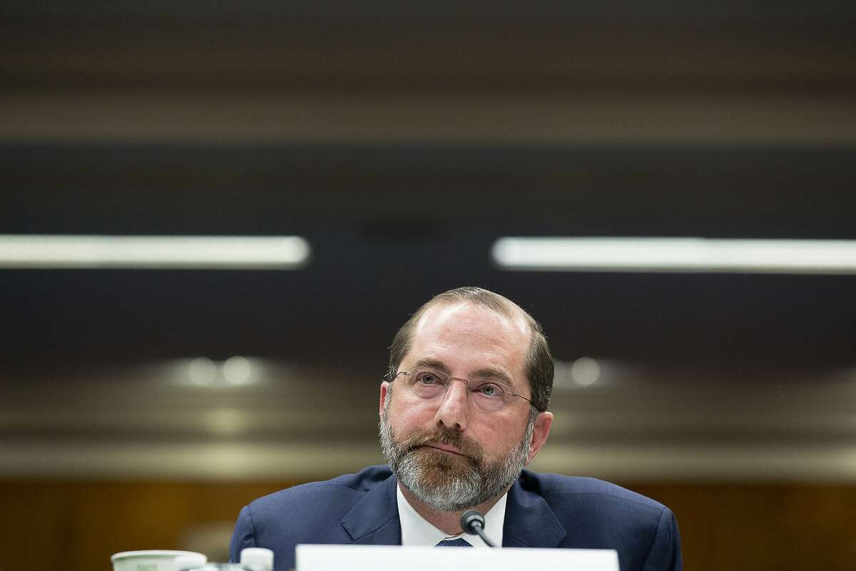 Alex Azar, secretary of Health and Human Services (HHS), listens during a Senate Appropriations Subcommittee hearing in Washington, D.C., U.S., on Tuesday, Feb. 25, 2020. Senators criticized the Trump administration's proposed $2.5 billion coronavirus plan, and Azar said he's prepared to work with lawmakers on a different approach. Photographer: Stefani Reynolds/Bloomberg