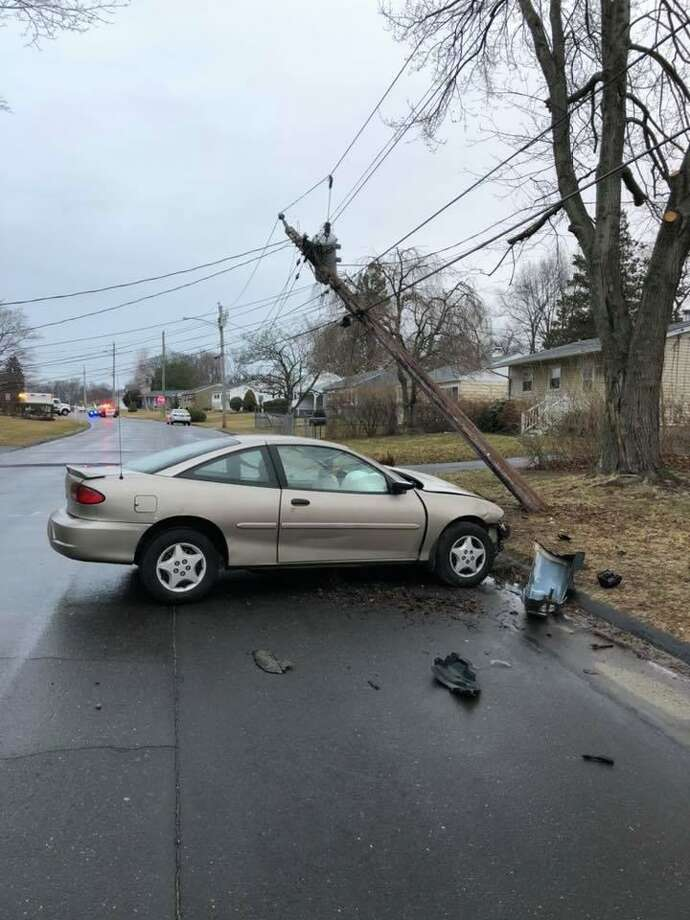 A crash in the area of Sunset Drive and Hillcrest Avenue in Derby, Conn., on Tuesday, Feb. 25, 2020. Photo: Contributed Photo / Derby Fire Department