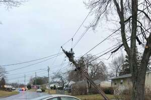A crash in the area of Sunset Drive and Hillcrest Avenue in Derby, Conn., on Tuesday, Feb. 25, 2020.