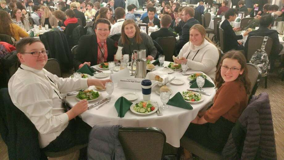 Manistee High School Youth in Government representatives are shown at the conference dinner. Shown (left to right) are Brandon Sullivan, Ryan Biller, Grace Danison, Lily Sagala and Anna Herberger. (Courtesy photo)