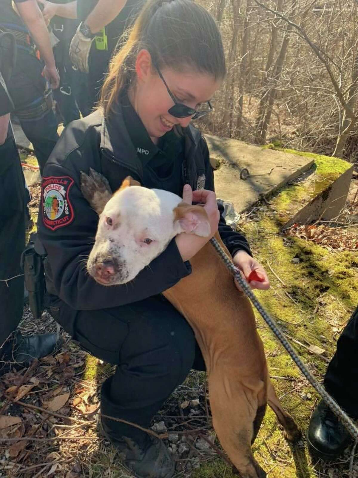 Crews rescued a puppy from a well in Montville, Conn., on Monday, Feb. 24, 2020.