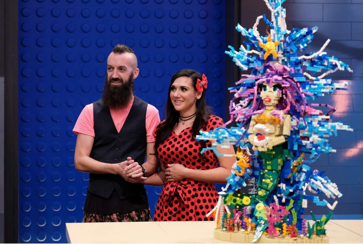 LEGO MASTERS: L-R: Contestants Sam and Jessie in the