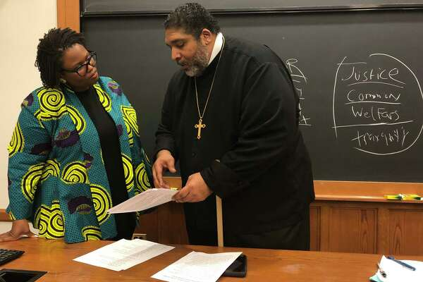 The Rev. William J. Barber, pastor of Greenleaf Christian Church in North Carolina and co-chairman of the national Poor People's Campaign, spoke with Yale Law School associate professor Monica Bell on Tuesday, Feb. 25. Barber, whose church has become a destination for presidential candidates, is calling for a presidential debate on poverty, and planning a Mass Poor People's Assembly and Moral March on Washington in June.