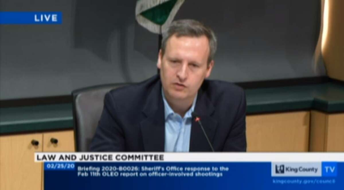 Councilmember Dave Upthegrove asks questions at a meeting of the Law and Justice Committee on Feb. 25, 2020.