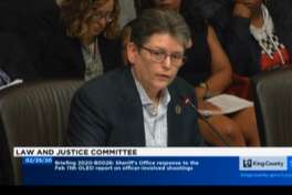 SheriffMitziJohanknecht responds to a report from the Office of Law Enforcement Oversight at a meeting of the Law and Justice Committee onFeb. 25, 2020.