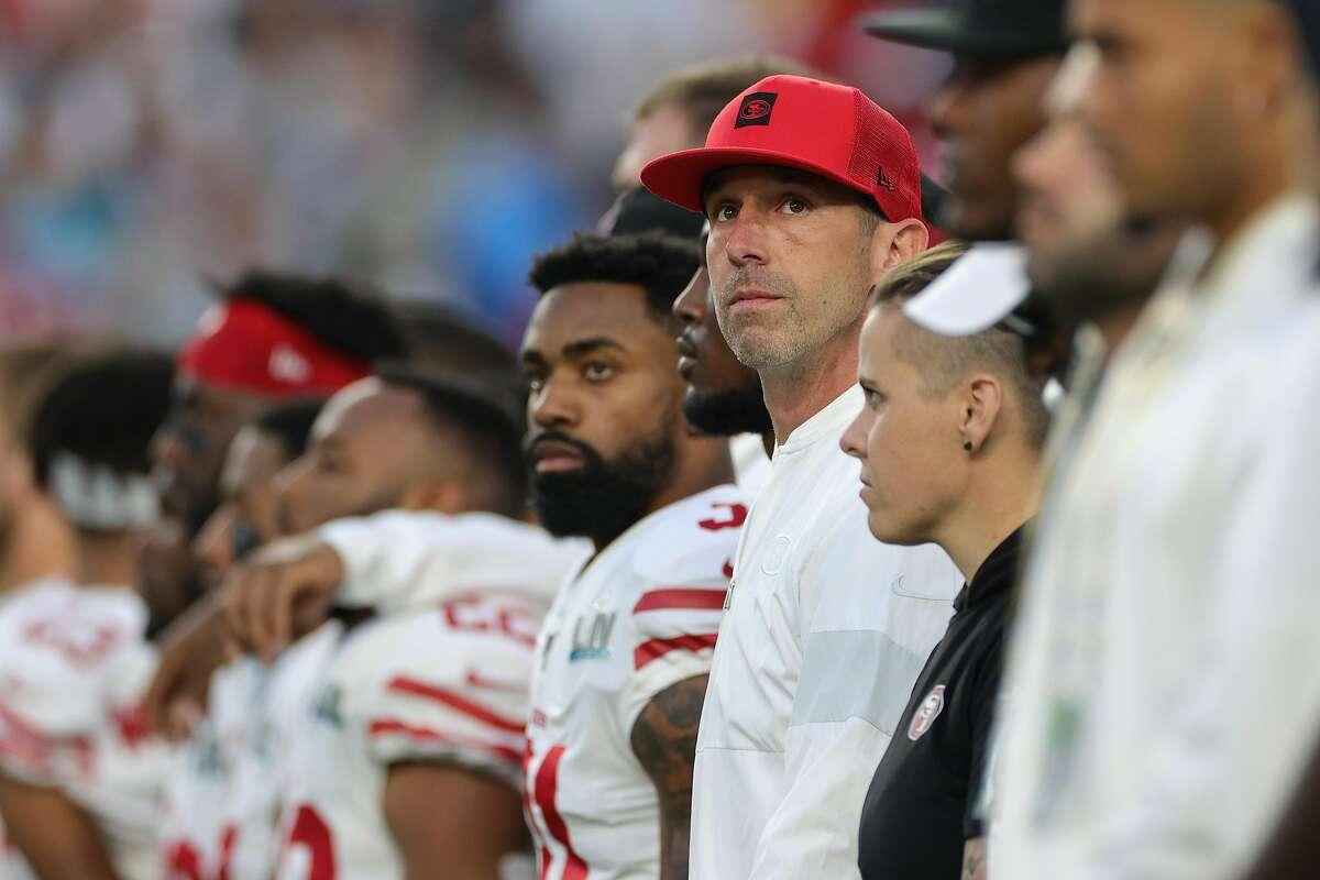MIAMI, FLORIDA - FEBRUARY 02: Head coach Kyle Shanahan of the San Francisco 49ers looks on before Super Bowl LIV against the Kansas City Chiefs at Hard Rock Stadium on February 02, 2020 in Miami, Florida. ~~