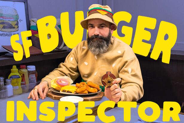 Artist Jeremy Fish, our SF Burger Inspector, at The Bullshead in San Francisco's West Portal neighborhood, Feb. 21, 2020