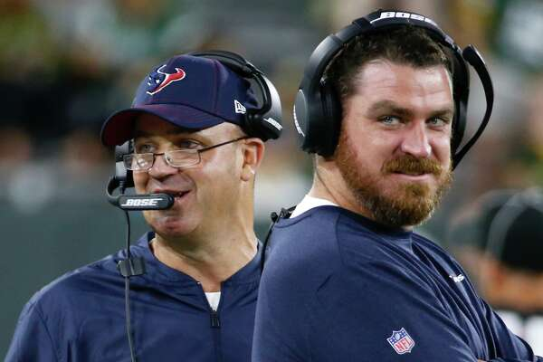 Texans offensive coordinator Tim Kelly (right) will be starting his ninth season on Bill O'Brien's staff this fall, but the first as the offensive play-caller.