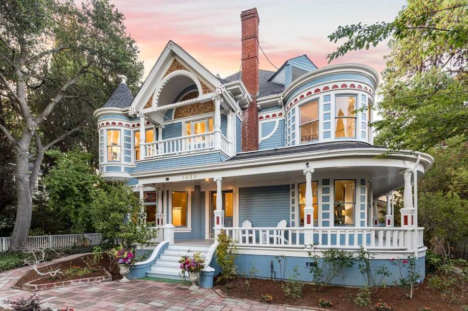 A fine example of Queen Anne architecture, complete with turrets, towers, turned woodwork, and decorative carving has come back onto the market in Palo Alto for $5.5 million. Photo: DeLeon Realty