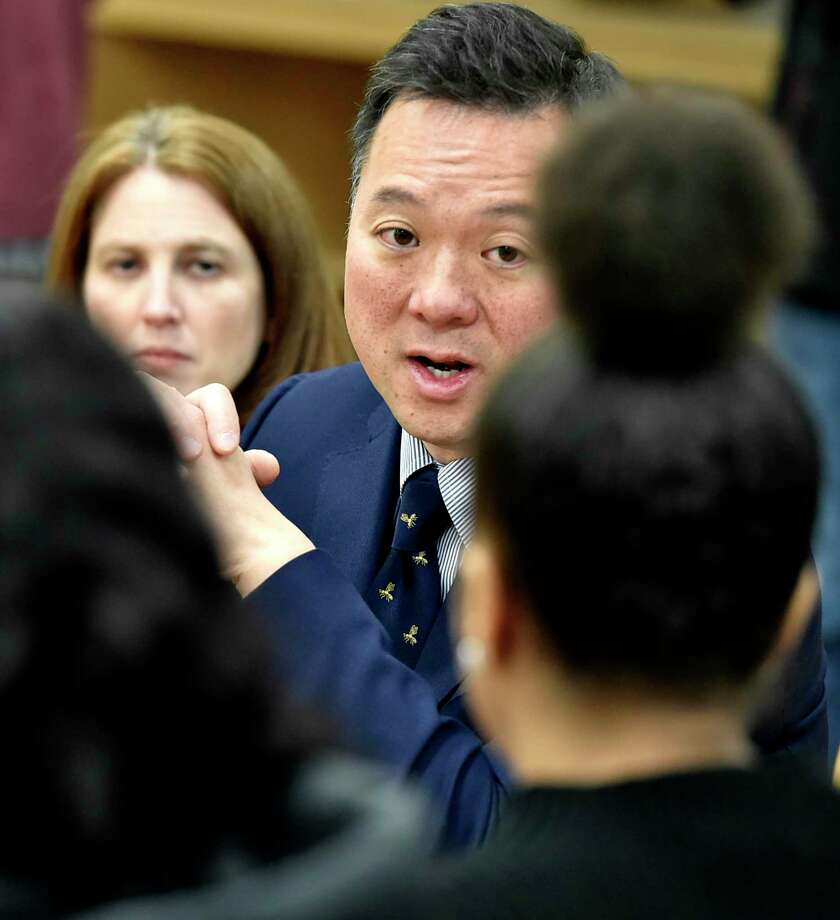 """Connecticut Attorney General William Tong, right, with Connecticut Consumer Protection Commissioner Michelle H. Seagull, left, speak with Hillhouse High School students Tuesday, February 25, 2020 at Hillhouse in New Haven about the impact of Juul and vaping. Tong and Attorneys General from Florida, Nevada, Oregon and Texas today announced a bipartisan, multistate investigation into Juul Labs. The 39-state coalition is """"investigating Juul's marketing and sales practices, including targeting of youth, claims regarding nicotine content, and statements regarding risks, safety and effectiveness as a smoking cessation device."""" Photo: Peter Hvizdak / Hearst Connecticut Media / New Haven Register"""