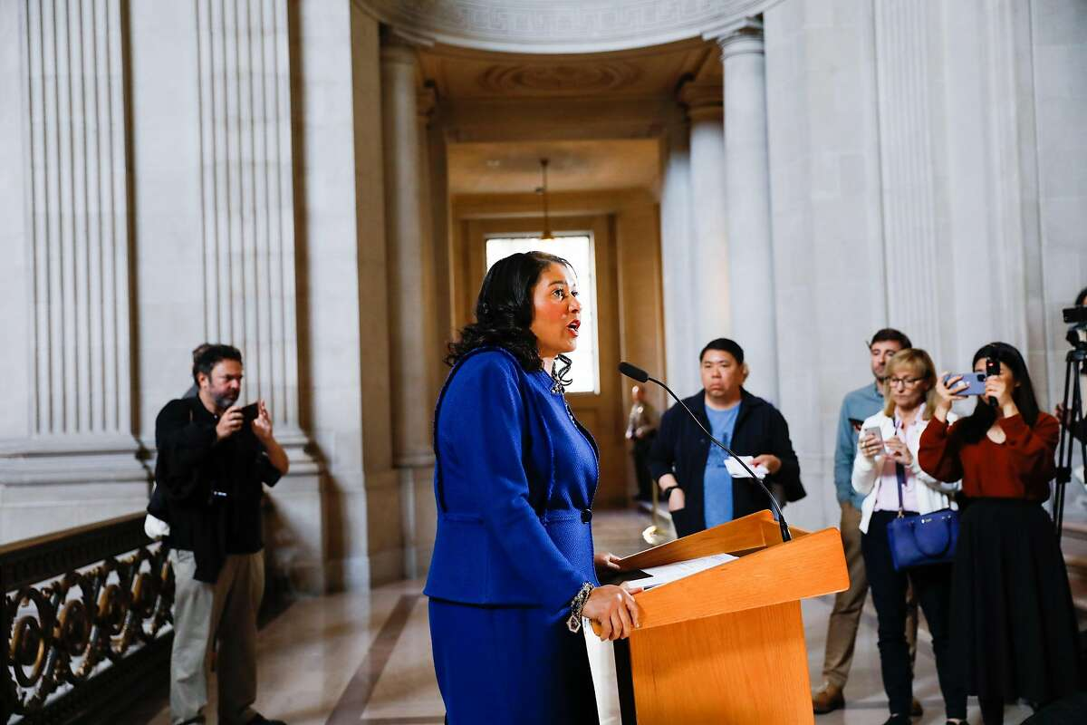 San Francisco Mayor London Breed announces a state of emergency due to the global outbreak of the coronavirus during a press conference at City Hall on Tuesday, Feb. 25, 2020 in San Francisco, California. The City has increased its preparedness for a potential outbreak.