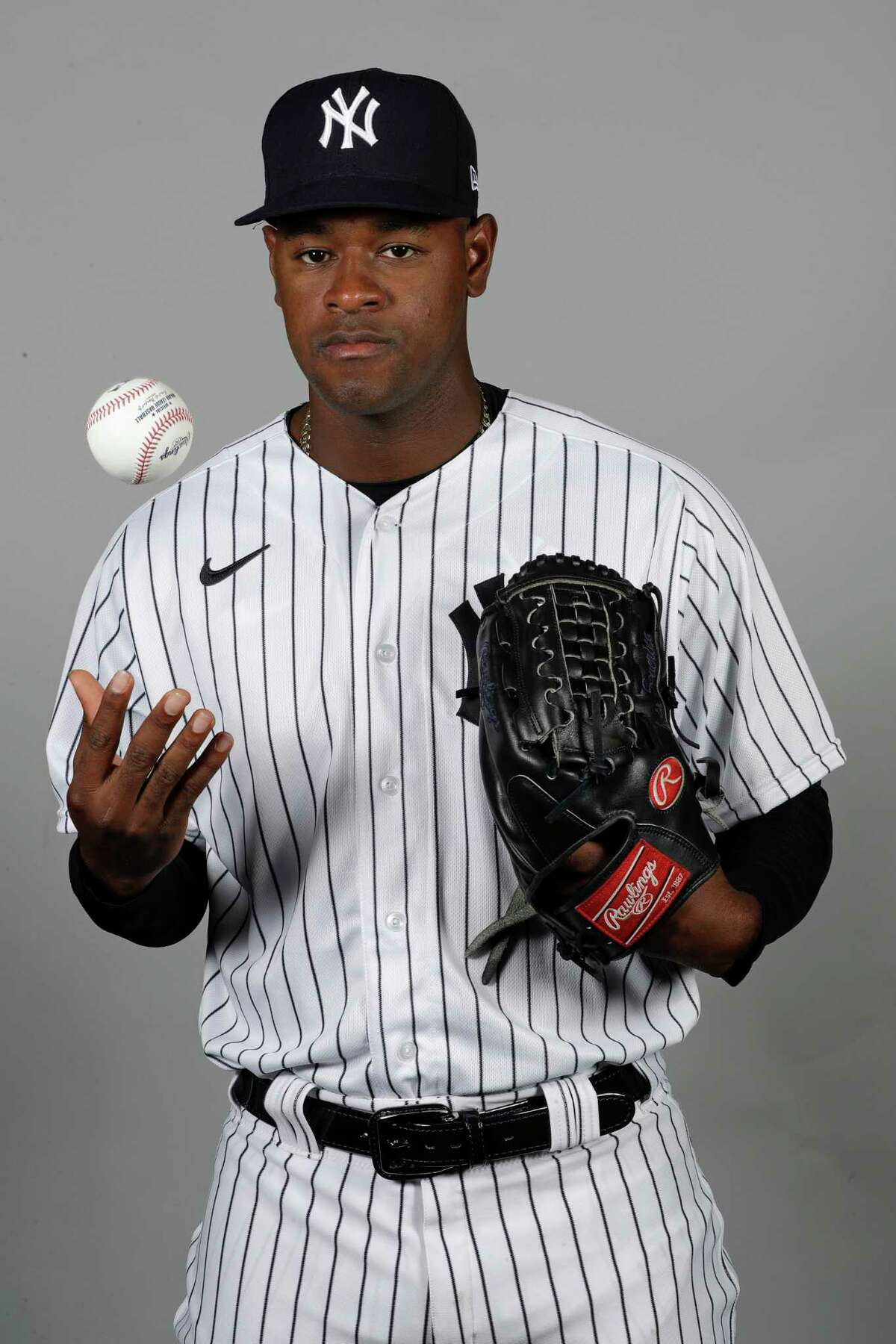 FILE - This is a Feb. 20, 2020, file photo showing New York Yankees' Luis Severino. Severino needs Tommy John surgery and will miss the 2020 season, another setback for the two-time All-Star and the rotation of the AL East favorites. a€œHis plan is to have it done as soon as possible,a€ Yankees general manager Brian Cashman said Tuesday, Feb. 25, 2020. (AP Photo/Frank Franklin II, File)