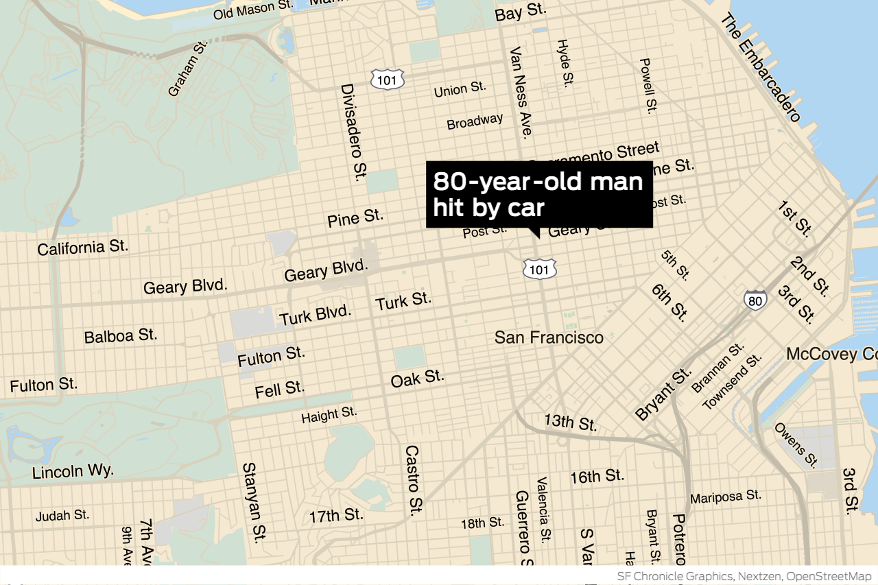 80-year-old man struck by car in San Francisco dies