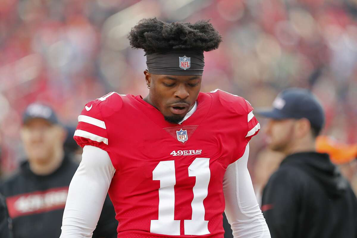 San Francisco 49ers wide receiver Marquise Goodwin during the first half of an NFL football game against the Denver Broncos Sunday, Dec. 9, 2018, in Santa Clara, Calif. (AP Photo/Josie Lepe)
