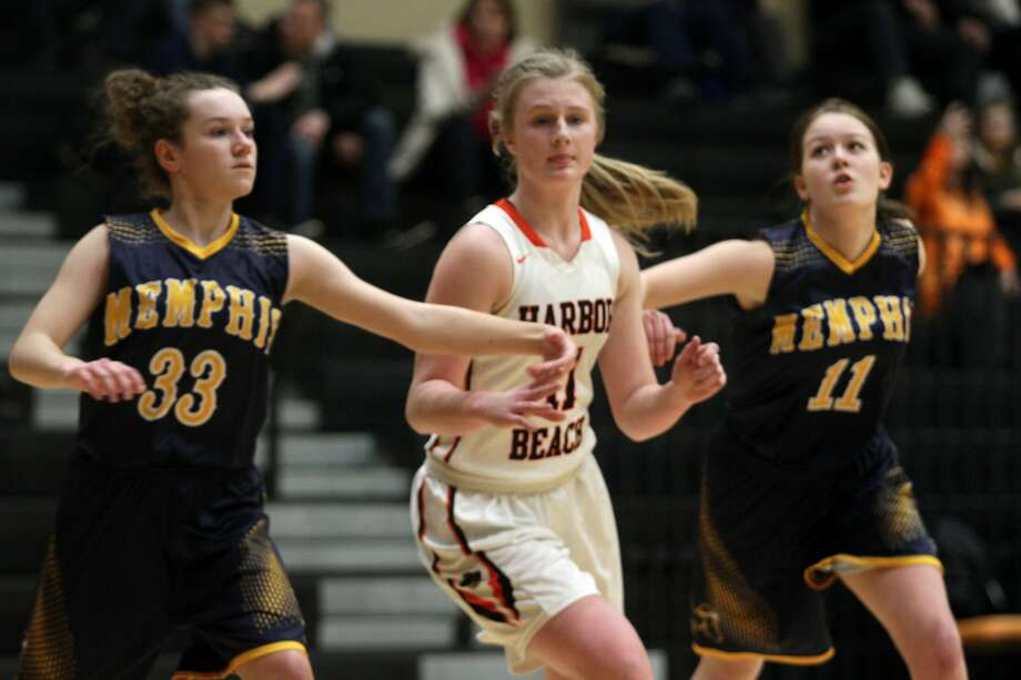 The Harbor Beach girls basketball team recorded a 68-17 win over Memphis at home on Tuesday, Feb. 25. Photo: Eric Rutter/Huron Daily Tribune