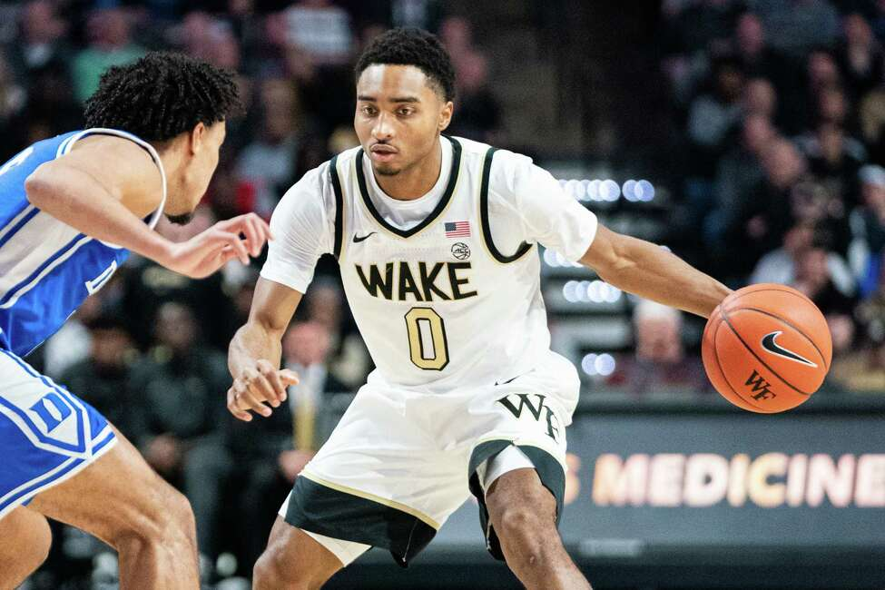 WINSTON-SALEM, NORTH CAROLINA - FEBRUARY 25: Brandon Childress #0 of the Wake Forest Demon Deacons with the ball during the first half during their game against the Duke Blue Devils at LJVM Coliseum Complex on February 25, 2020 in Winston-Salem, North Carolina. (Photo by Jacob Kupferman/Getty Images)