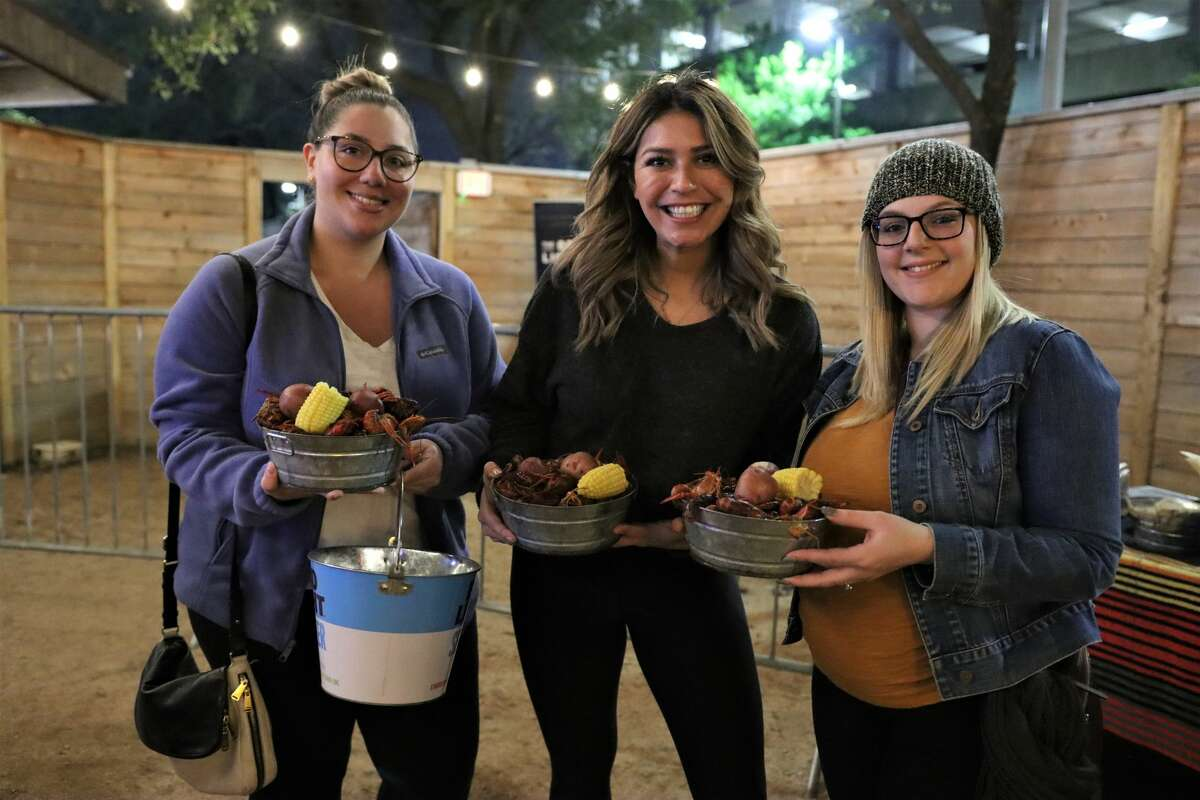 The Rustic's Fat Tuesday Mardi Craw party served two-pound plates of boiled crawfish to guests, offered VIP lounge seating, beads, and live music by The Heights Funk Collective.