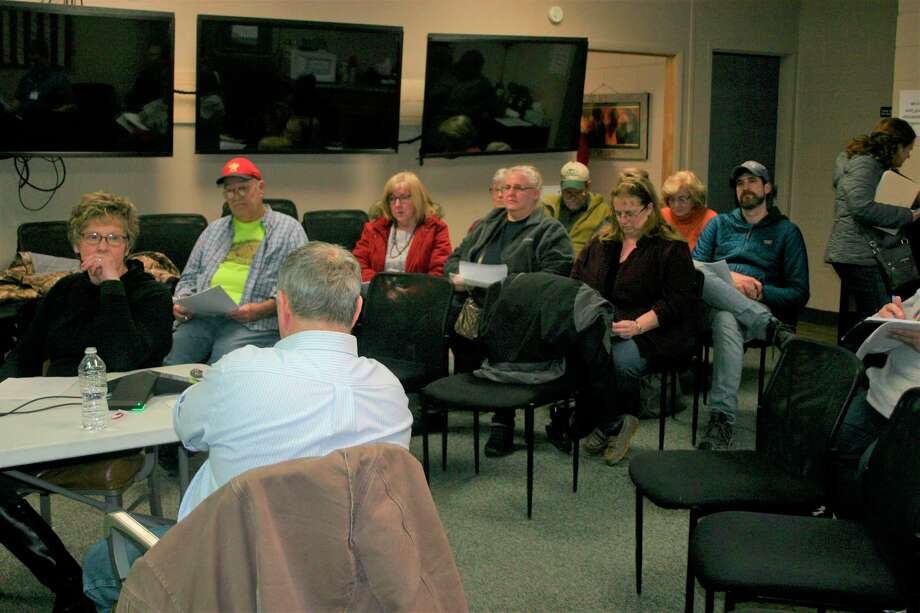 The Evart Area Joint Fire Board met with city and township officials and members of the public to discuss possible avenues for additional fire department funding on Feb. 21. (Herald Review photo/Cathie Crew)