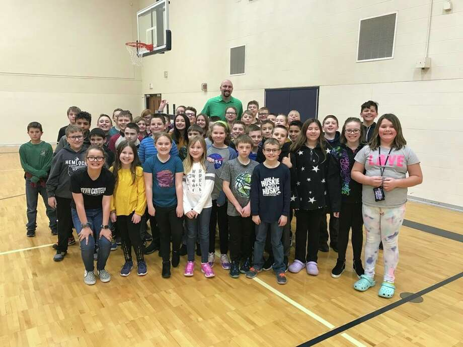 Hemlock Middle School and K.C. Ling Elementary welcomed former Michigan State University basketball player and first college basketball player with autism, Anthony Ianni. (Photo provided)
