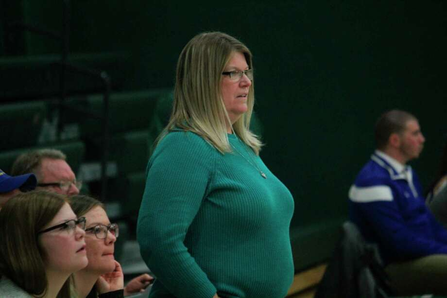 Pine River coach Paula Justin watches the court in recent action. (Herald Review photo/John Raffel)