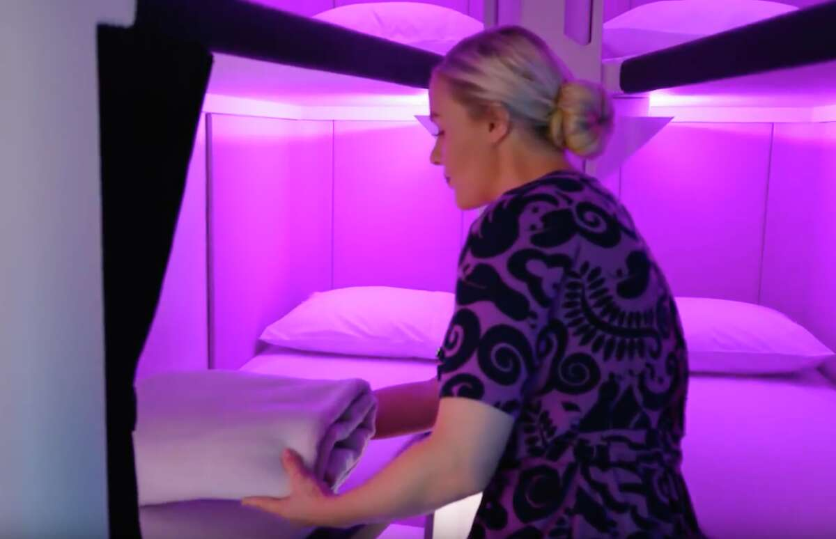Prototype images of Air New Zealand's Skynest, bunk beds in economy class