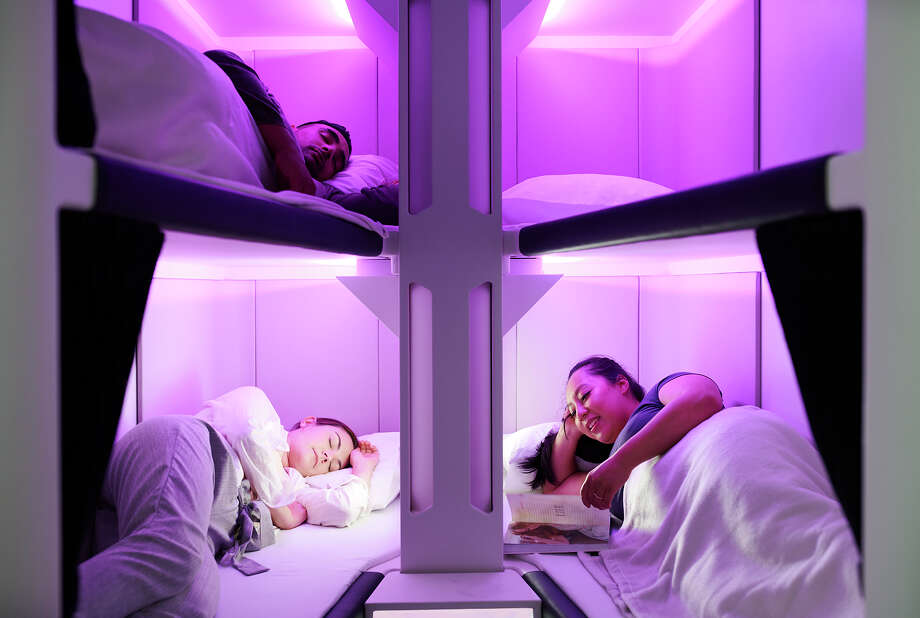 Prototype images of Air New Zealand's Skynest, bunk beds in economy class Photo: Air New Zealand