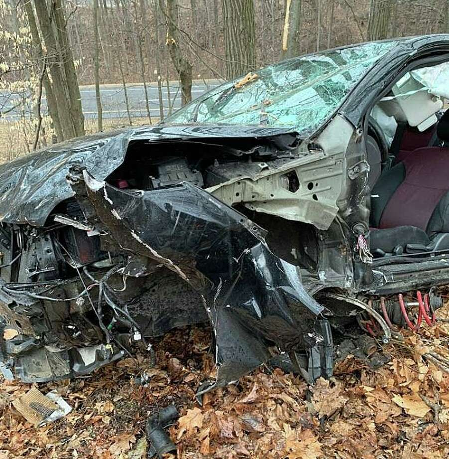 Two people were injured in a northbound crash on Route 8 in Shelton on Tuesday, Feb. 25, 2020. Echo Hose Hook & Ladder Co. 1 said the accident happened at 3:37 p.m. between Exits 12 and 13. Photo: Echo Hose Hook & Ladder Co. Photo
