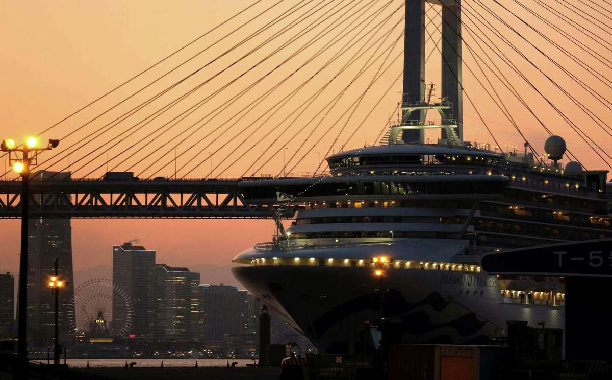 A general view shows the quarantined Diamond Princess cruise ship at Daikoku pier cruise terminal in Yokohama.
