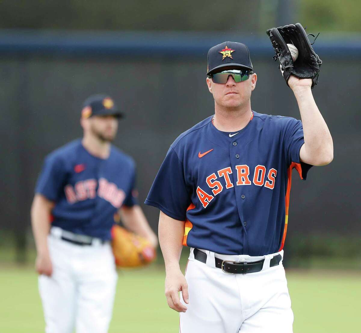 Houston Astros pitcher Brad Peacock (41) during the Houston Astros spring training workouts at the Fitteam Ballpark of The Palm Beaches, in West Palm Beach, Friday, Feb. 21, 2020.