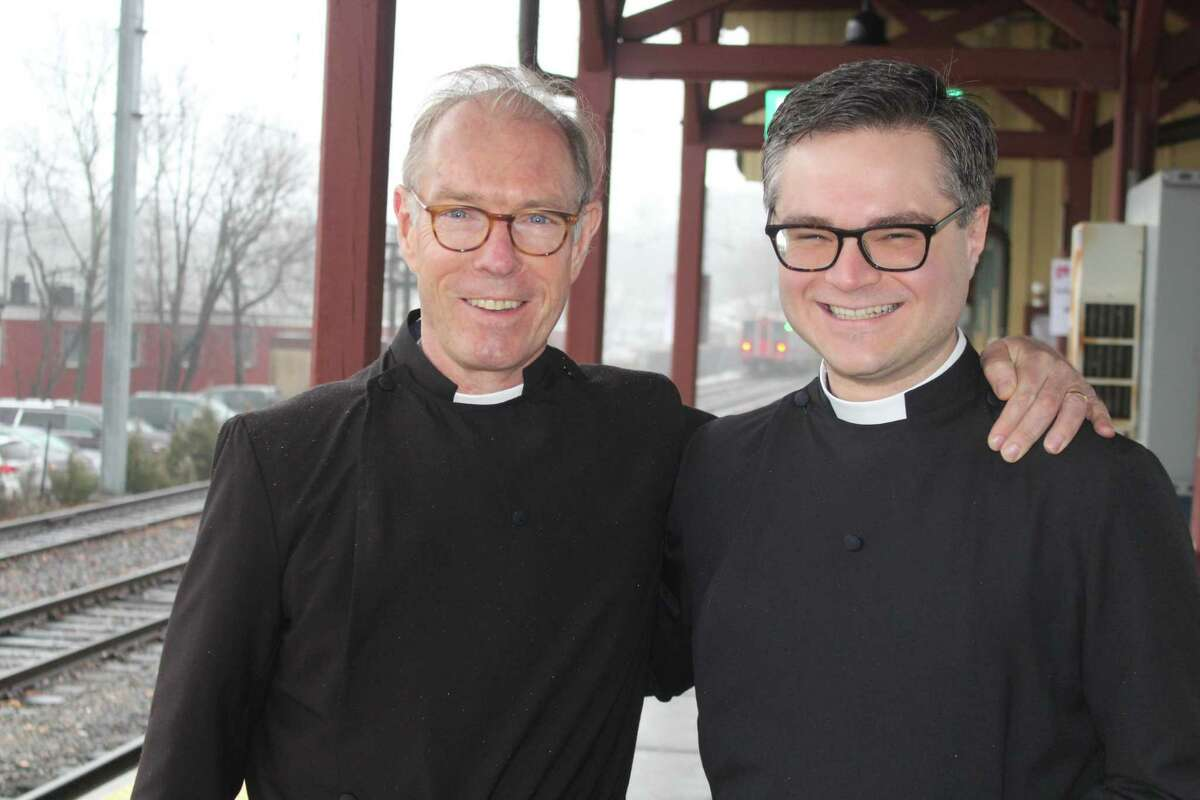 The Rev. Peter Walsh and the Rev. Justin Crisp of St. Mark's Episcopal Church in New Canaan greeted commuters at the downtown New Canaan Metro-North station with Ashes to Go on Ash Wednesday, Feb. 26.