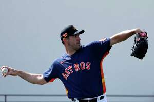 Houston Astros pitcher Justin Verlander (35) during the Houston Astros spring training workouts at the Fitteam Ballpark of The Palm Beaches, in West Palm Beach , Tuesday, Feb. 18, 2020.