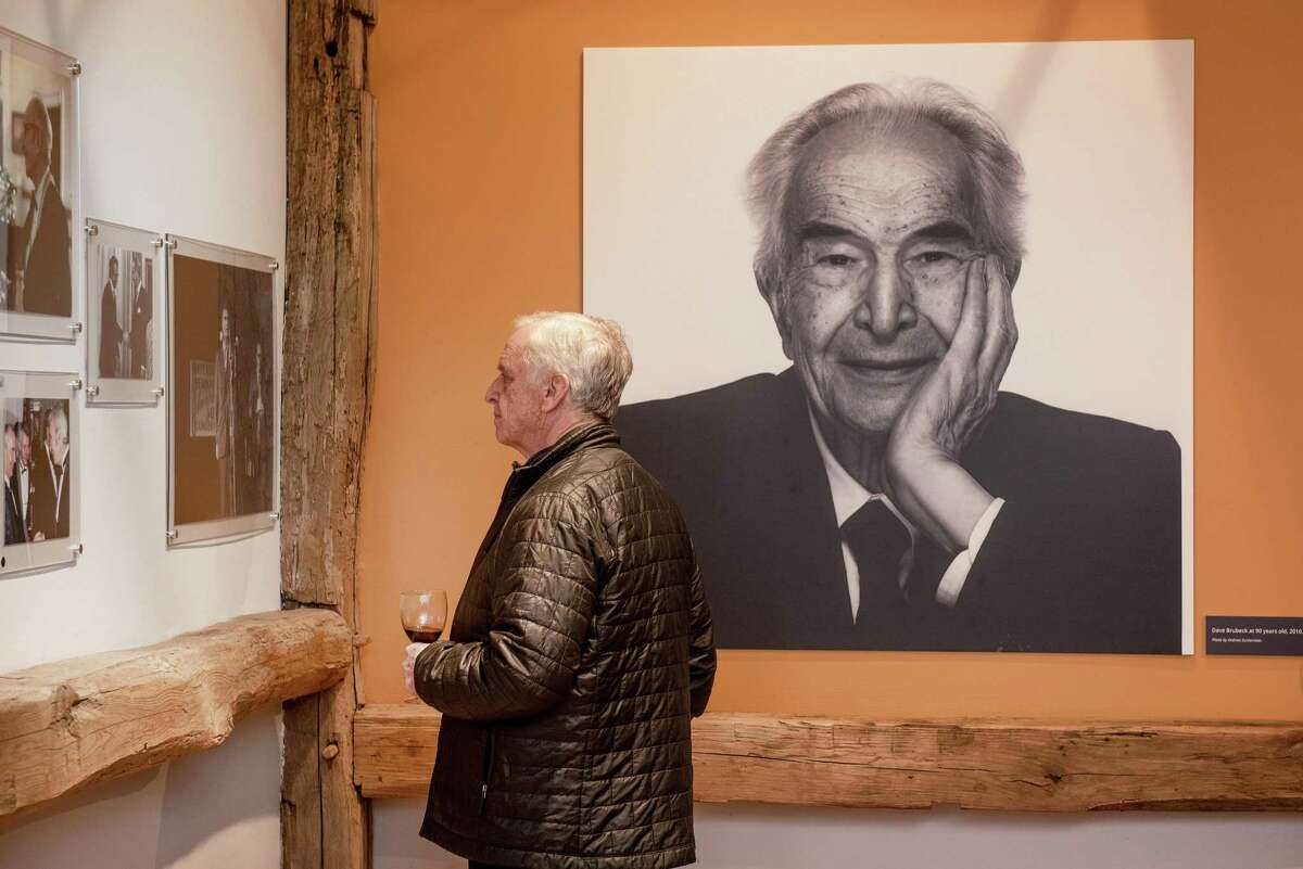 A portrait of Dave Brubeck at age 90 by Andrew Zuckerman taken in 2010 greets visitors to the Wilton Historical Society's exhibition, Remembering Dave: A Brubeck Family Album.