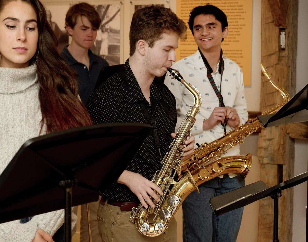 Zara Wiest, Ian Kineon, Jake Arnowitz, and Harris Patnaik of the Wilton High School band played at the opening reception of the Wilton Historical Society's Remembering Dave: A Brubeck Family Album on Friday, Feb. 21.
