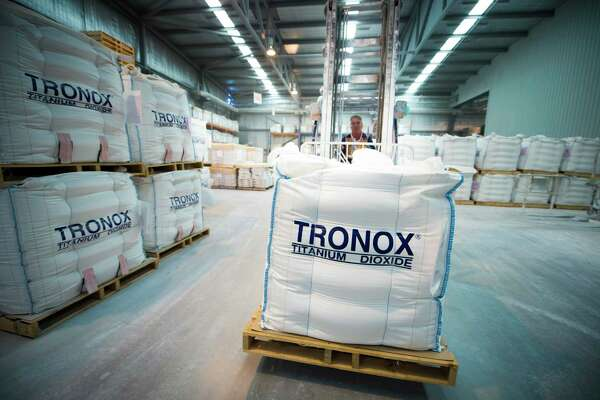 A Tronox warehouse storing bulk bags of titanium dioxide. Tronox has reported sharply rising revenues for the fourth quarter and entirety of 2019.