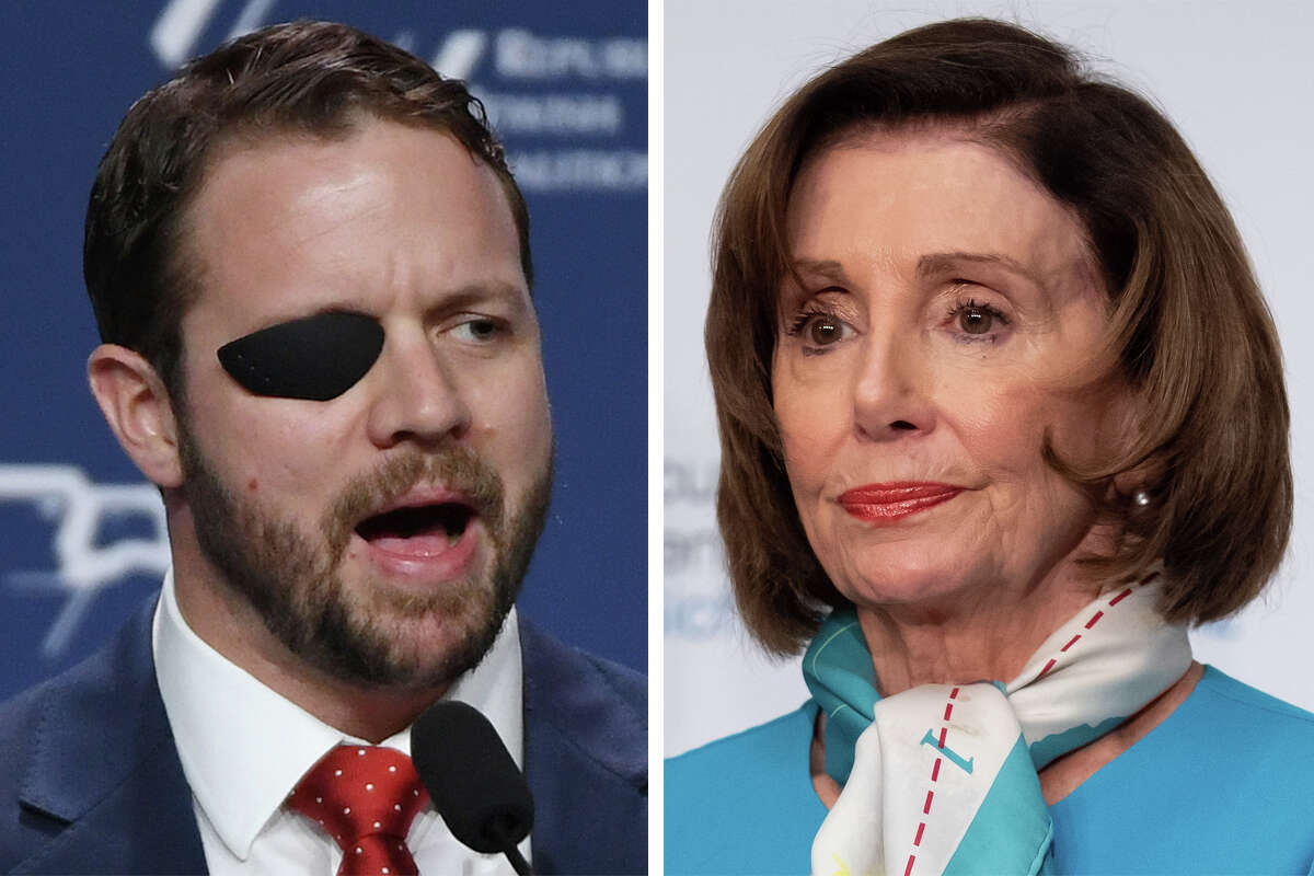 Rep. Dan Crenshaw and House Speaker Nancy Pelosi are pictured in this composite photo.