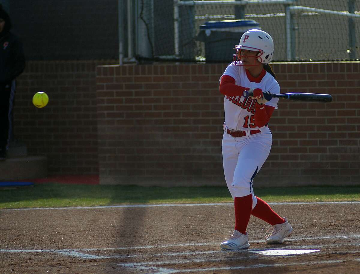 Plainview's Aaleah Rodriguez prepares to swing during a District 3-5A softball game against Amarillo Caprock on Tuesday, Feb. 25, 2020 at Wilder Field.