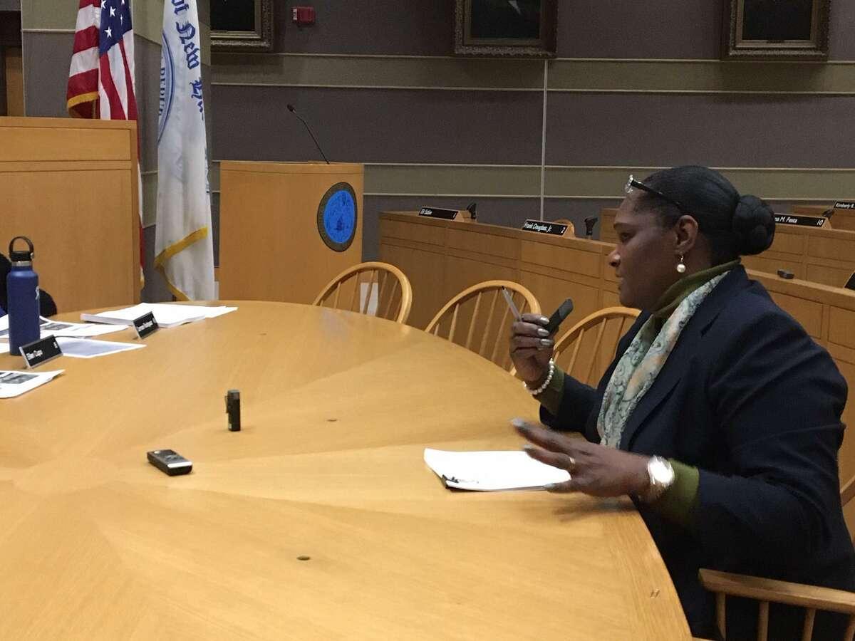 LCI director Serena Neal-Sanjurjo at an aldermanic hearing
