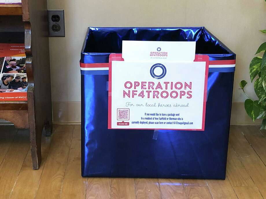 An Operation NF4Troops collection box at New Fairfield Town Hall. Photo: Facebook / Town Of New Fairfield