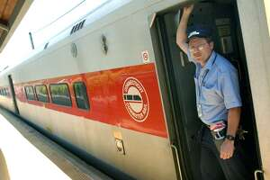 Metro-North conductor Paul Holland as a train departs from Danbury to Norwalk.