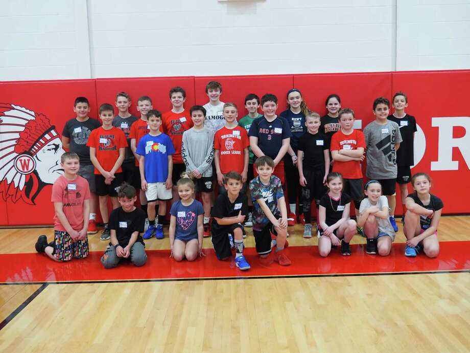 Students in Goshen, Warren and Morris recently participated in a Hot Shots basketball contest at Wamogo Regional High School, held by the three towns' recreation departments. Photo: Goshen Recreation / Contributed Photo
