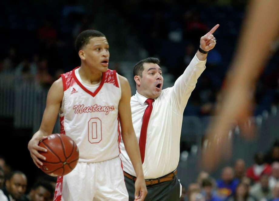 Galena head coach Sam Benitez gives instruction. UIL boys basketball 6A State semi-final between Galena Park North Shore and Duncanville on Friday, March 8, 2019 at the Alamodome in San Antonio, Texas. (Ron Cortes/ Special Contributor) Photo: Ronald Cortes/Contributor / Ron Cortes / 2019 Ronald Cortes